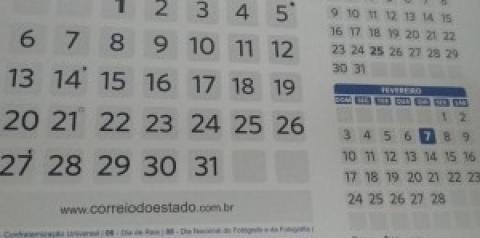 Em 2019, quatro feriados nacionais serão nos finais de semana