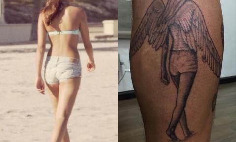 Leandro Hassum tatua silhueta da filha na perna
