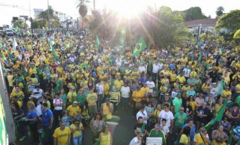 Em 2 horas, ato de apoio a Bolsonaro reúne 4 mil em Campo Grande