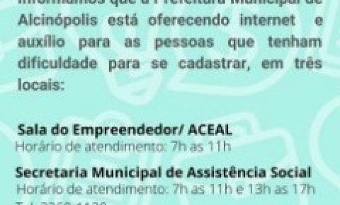 Prefeitura Municipal de Alcinópolis está auxiliando no cadastro para auxílio emergencial
