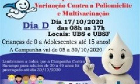 Campanha Nacional de Vacinação contra Poliomielite e Multivacinação inicia dia 05 de outubro