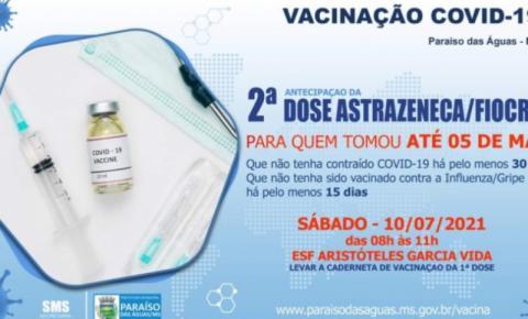 Segunda dose da Astrazeneca será ministrada no próximo sábado em Paraíso das Águas