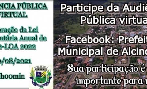 Alcinópolis realizara no próximo dia 20 Audiência Pública Virtual para elaboração da Proposta da Lei Orçamentaria Anual
