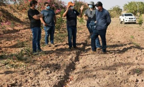 Prefeito Dalmy e secretária de desenvolvimento visitam propriedade de fruticultura em Alcinópolis