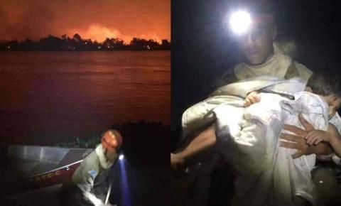 Chamas tomam Pantanal, fogo 'salta' margem do Rio Paraguai e famílias são resgatadas em MS